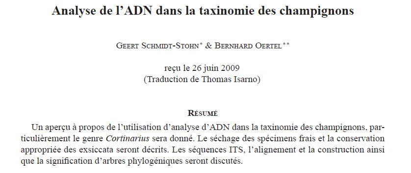 Analyse ADN dans la taxonomie des champignons